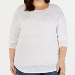New INC Linen Knit Pullover White Sweater